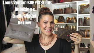 Louis Vuitton SURPRISE gift unboxing! & Emilie Wallet Review
