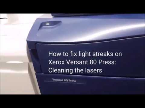 Cleaning lasers on Xerox Versant 80 for light streaks
