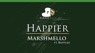 Marshmello ft. Bastille - Happier - LOWER Key (Piano Karaoke / Sing Along)