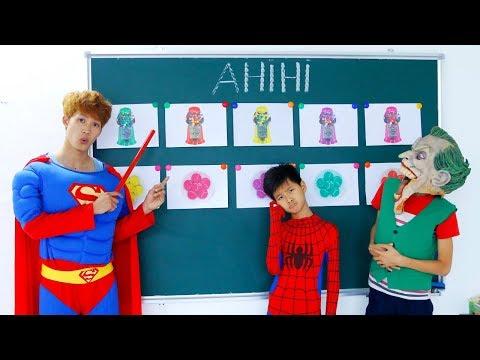 Superman Fishing Ice Cream Spiderman Learn Color CANDY MACHINE Johny Johny Yes Papa Nursery Rhyme