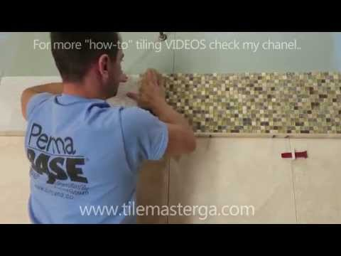"Part ""3"" How to installTravertine Tile mosaic accent with border"
