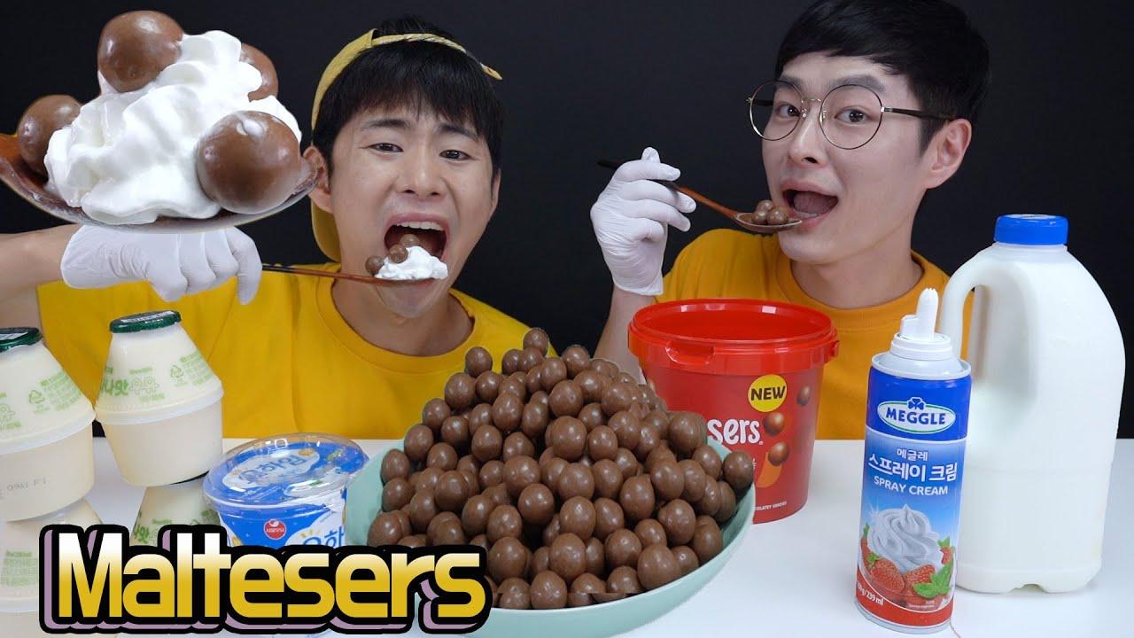 몰티저스+바나나우유+요플레+생크림 먹방! (feat.이손) Maltesers Mukbang eating sound!! ASMR