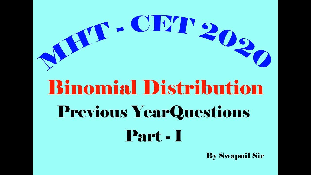 Binomial Distribution (part - 1) / MHT-CET 2020 / preperation video