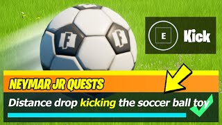 Distance drop kicking the soccer ball toy as Neymar JR (500 meters) - Fortnite