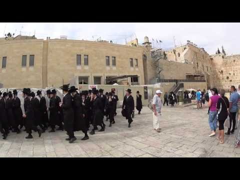 A group of a Jewish yeshiva students (Orthodox Jews) at the plaza of the Wailing Wall in Jerusalem
