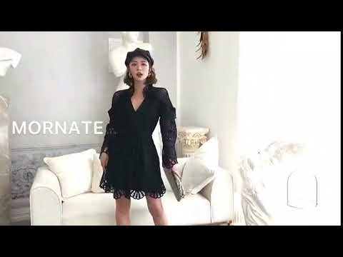 cff1e23a42269 Self Portrait V Neck Crochet Mini Dress - YouTube