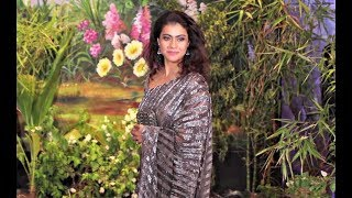 Kajol In Sequin Saree At  Sonam Kapoor Wedding Reception