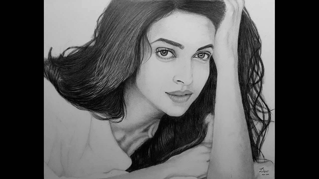 Realistic pencil drawing of indian bollywood actress deepika padukone
