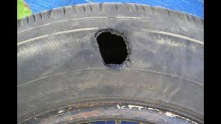 Ремонт бокового повреждения легкового колеса.