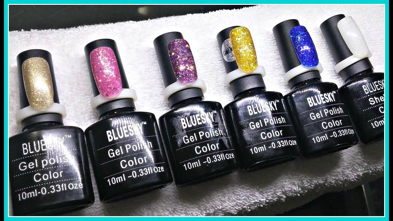 Swatches | 6 Bluesky Glitter Gel Polishes | Gel Polish - YouTube