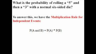 "Multiplication Rule (Probability ""and"")"