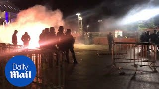 Police confront marseille fans as rioting breaks out - daily mail