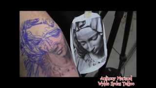 Virgin Mary black and grey tattoo by: Anthony Mariscal (Wylde Sydes Tattoo)