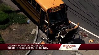 Weymouth school bus crashes on Quincy Avenue