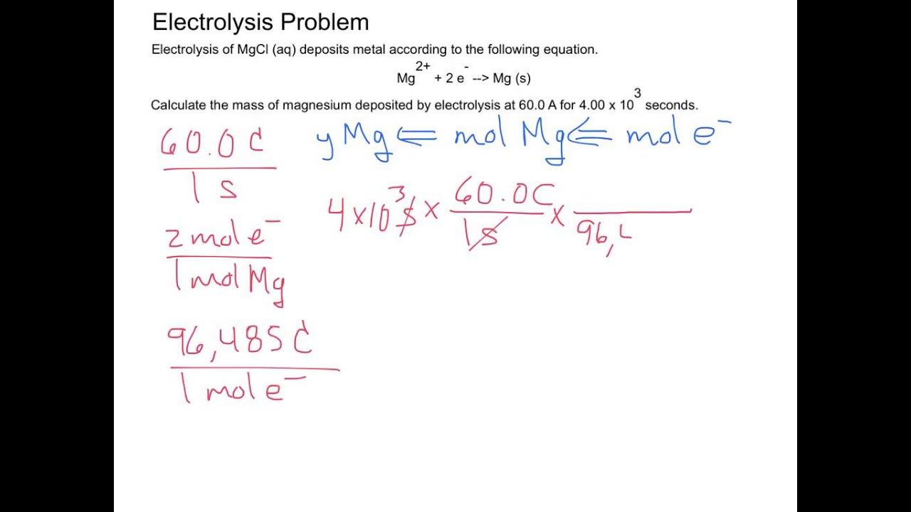 Electrochemistry - Electrolysis Problem