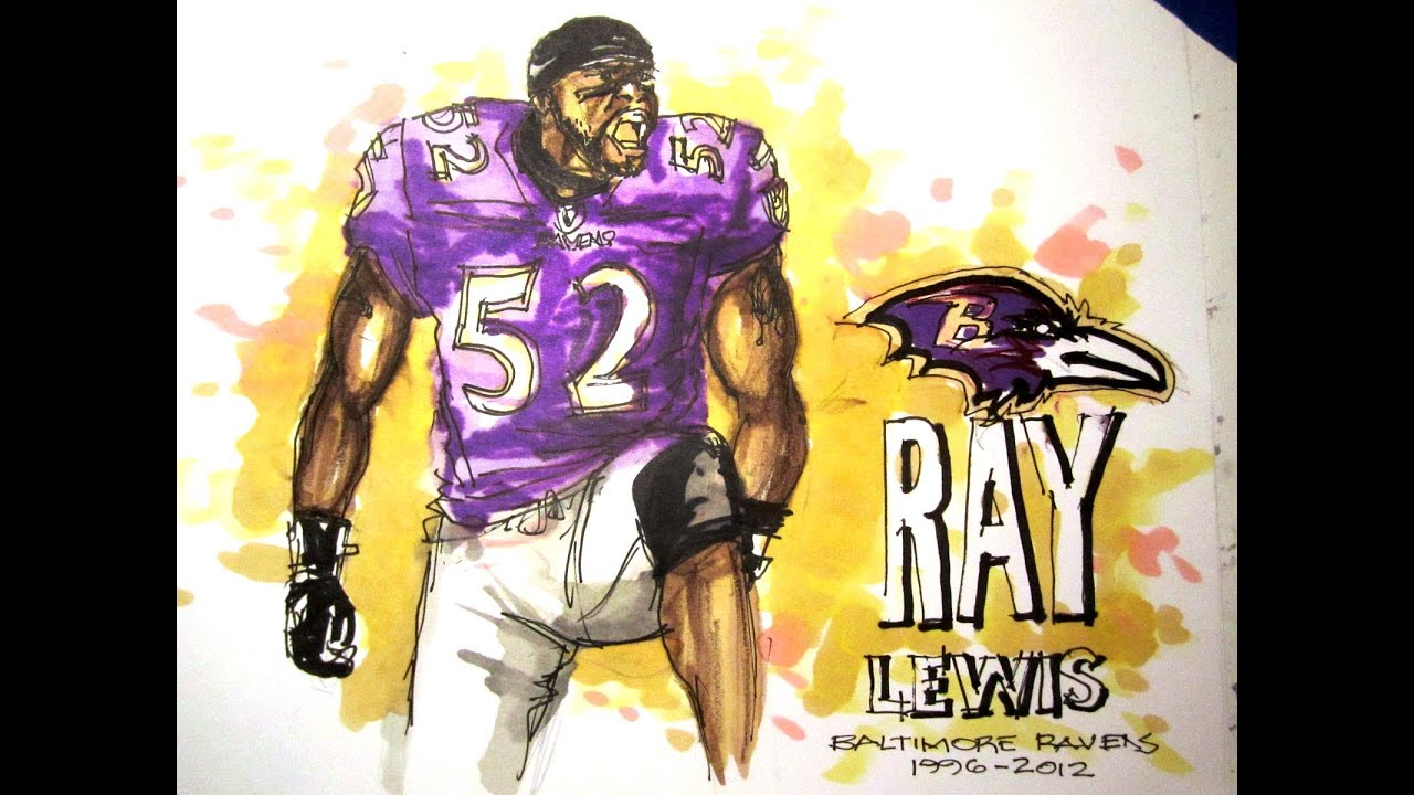 e0f9a2bbf511 NFL Football Series  Ray Lewis Baltimore Ravens LB Time Lapse Drawing