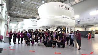 Flight simulator tour with Qatar Airways female pilots