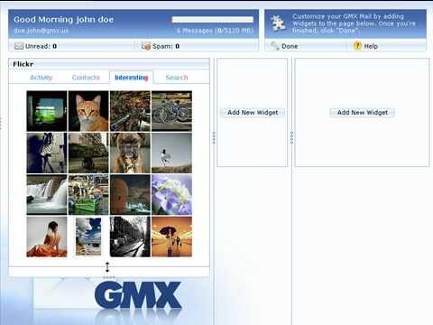 GMX Mail: Widgets