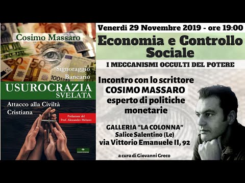 COSIMO MASSARO ECONOMIA E CONTROLLO SOCIALE BelSalento a cura di Giovanni Greco Salice Le 29/11/2019