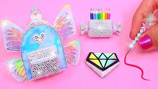 DIY: Miniature Holographic School Supplies ( Backpack, Notebook, Pen, Pencil case) REALLY WORKS