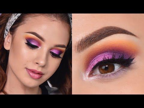 Fun Colorful Summer Makeup Tutorial – Orange , Purple And Pink Smokey Eye