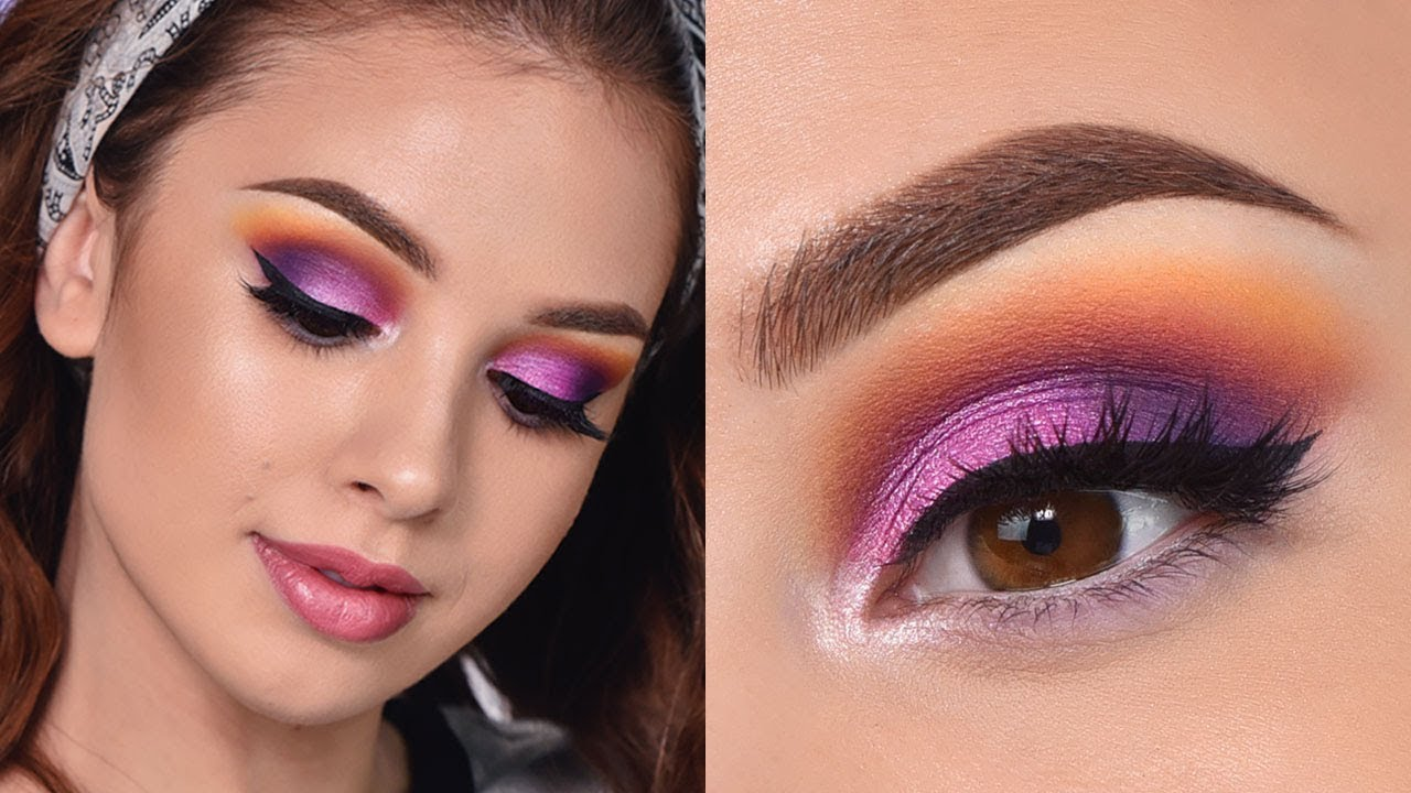 fun colorful summer makeup tutorial orange purple and pink smokey eye youtube. Black Bedroom Furniture Sets. Home Design Ideas
