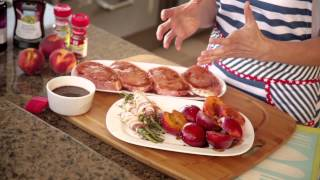 Grilled Balsamic Pork Chops With Bacon Wrapped Green Beans And Grilled Peaches