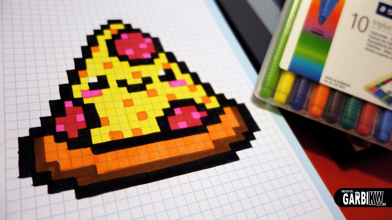 Handmade Pixel Art How To Draw A Kawaii Pizza By Garbi Kw Pixelart