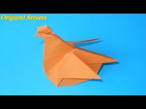 видео: Как сделать курицу из бумаги. Оригами курица.