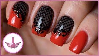 Красные ногти | Дизайн ногтей колготки, вуаль | Шикарный красный маникюр