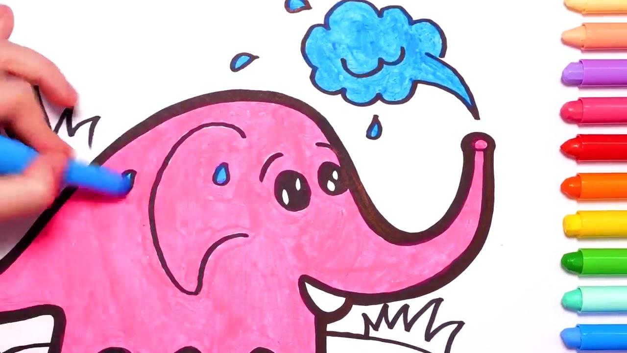Рисуем Слона, раскраски и рисунки для детей - YouTube