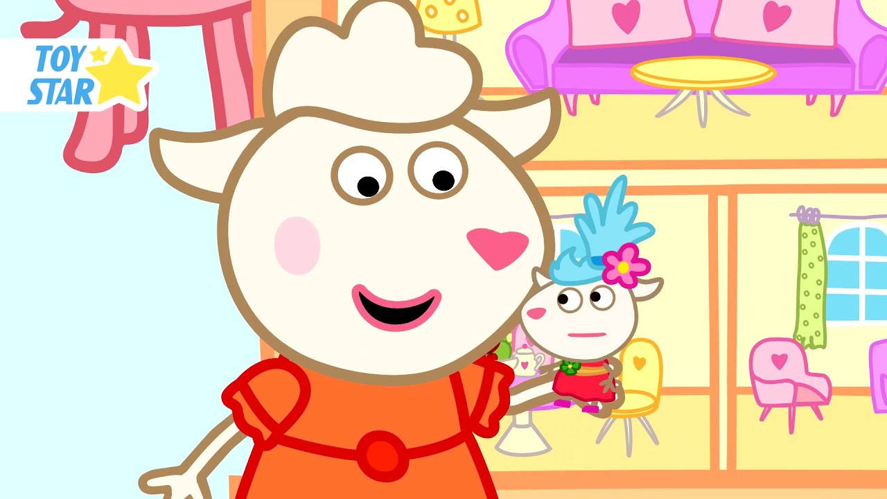 Dolly and Her Sister's Dollhouse. Funny Cartoon for Kids