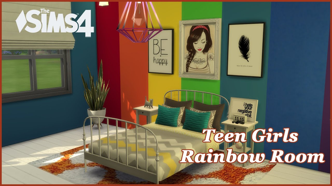 The Sims 4   Tumblr Bedroom   Teen Girls Rainbow Bedroom   YouTube