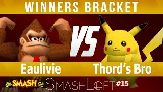 SL SSB64 M#15 - Eaulivie (Pika, Donkey Kong) vs Thord's Bro (Fox, Yoshi, Pika) - Winners Bracket