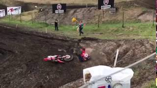 MXGP of Germany, Teutschenthal  Bobryshev Crash / Падение Евгения Бобрышева в Германии 2017