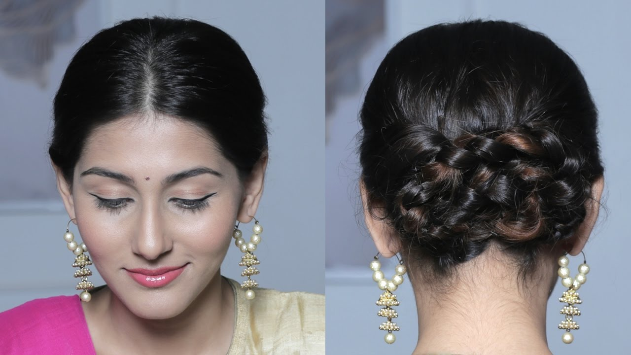 wraparound braided bun updo - quick