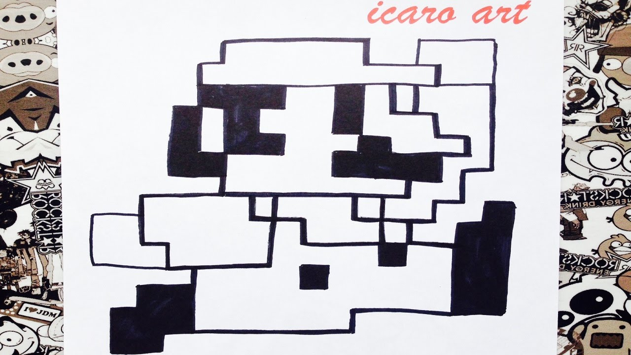 Como dibujar a Mario bros pixelado | how to draw mario bros - YouTube