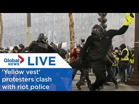 LIVE: 'Yellow vest' protesters clash with riot police in Paris