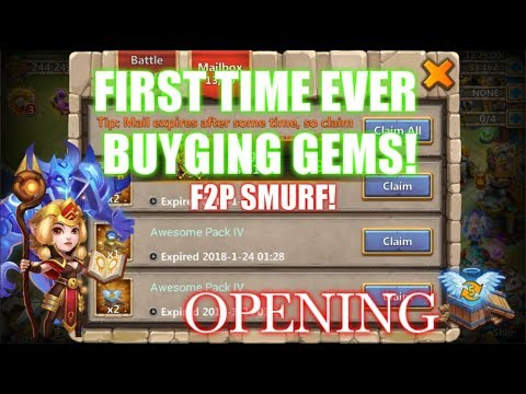 FIRST TIME BUYING GEM ON F2P ACCOUNT! Castle Clash