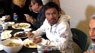 MANNY PACQUIAO EATING LIKE GOKU AFTER WEIGH IN WITH KEITH THURMAN