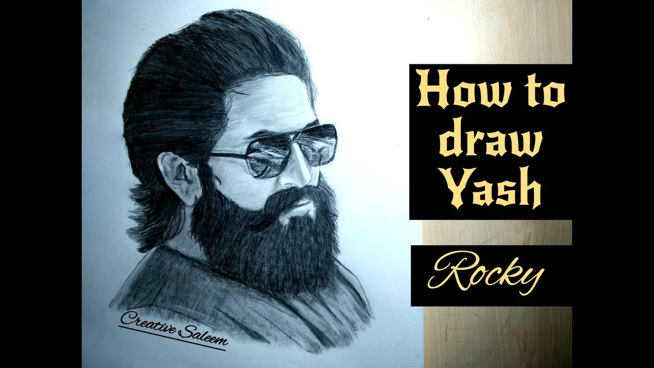 How to draw Rocking star Yash | Kgf Drawing | Rocky kgf ...