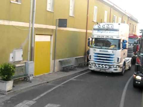 TIR in partenza Madonna della strada Nurallao