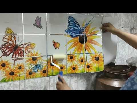 Kitchen Stickers#kitchen Wall Makeover # Oil Proof Kitchen Stickers