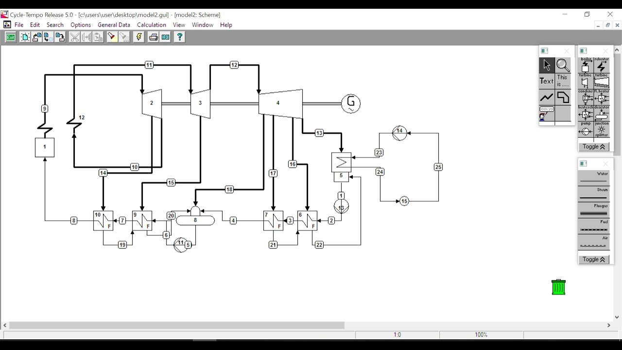 hight resolution of tutorial cycle tempo steam power plant modelling