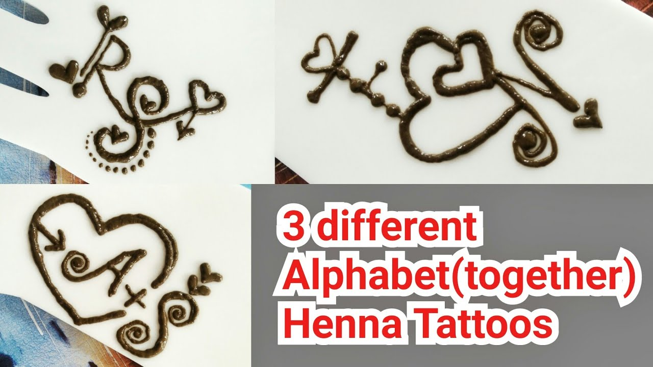 a3d03a24b DIY Henna Tattoos| R❤S, A❤S, F❤N, Alphabet mehndi tattoo for couples| Letter  mehendi tutorial