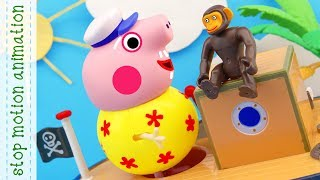 Clever Monkey. Peppa pig toys stop motion animation english episodes 2018