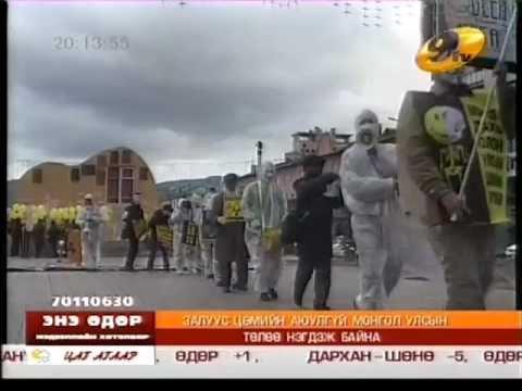 """Chernobyl 26 years"" demonstration - Ulaanbaatar Mongolia - 2012.04.26 - TV9 television"