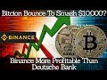 Crypto News | Bitcion Bounce To Smash $10,000? Binance More Profitable Than Deutsche Bank