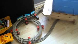 Playing with Thomas the Train trainset
