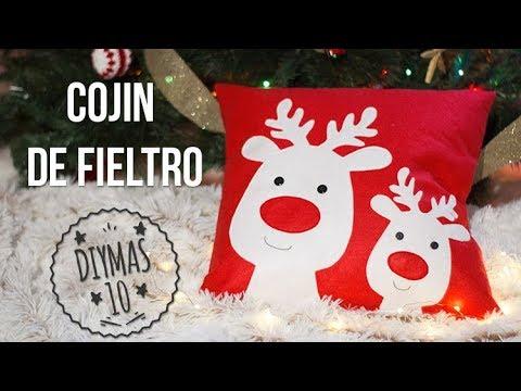 Coj n de fieltro navide o con renos youtube for Manualidades renos navidenos